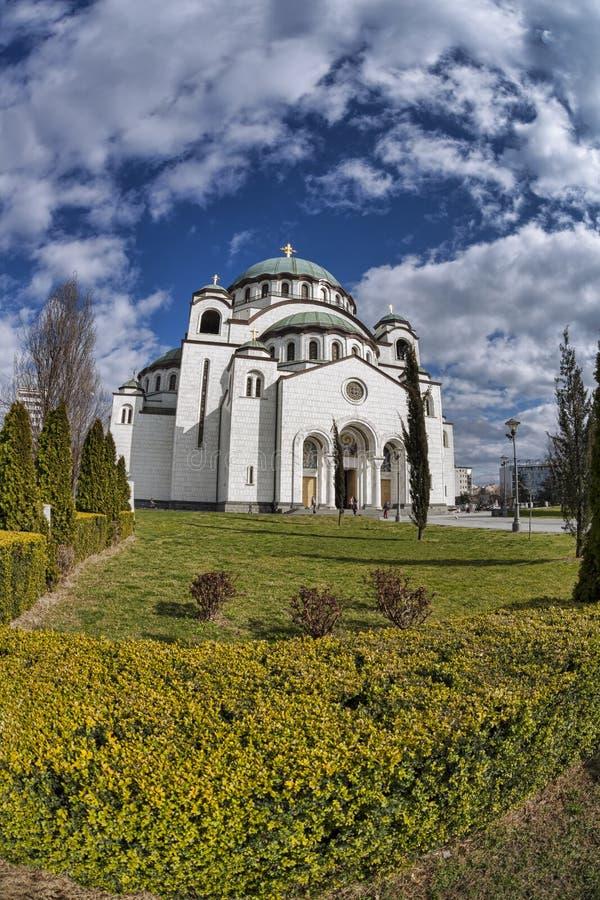 St Sava Cathedral i Belgrade, huvudstad av Serbien arkivbild