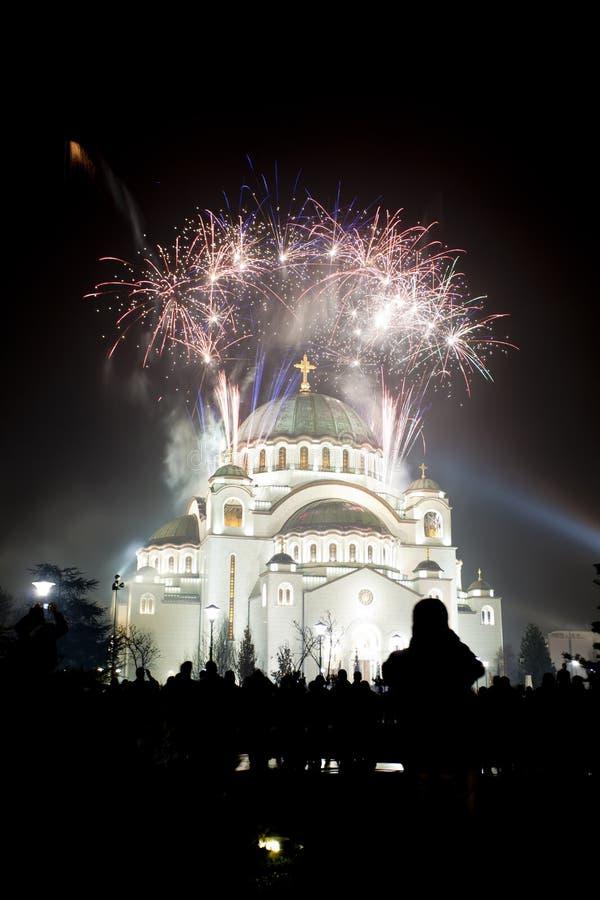 St. Sava Temple in Belgrade, Serbia. Fireworks stock photography