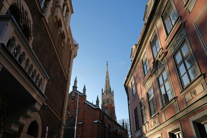 St. Saviour`s Church - Anglican church in Riga, Latvia. Gothic style architecture of the old town stock photo