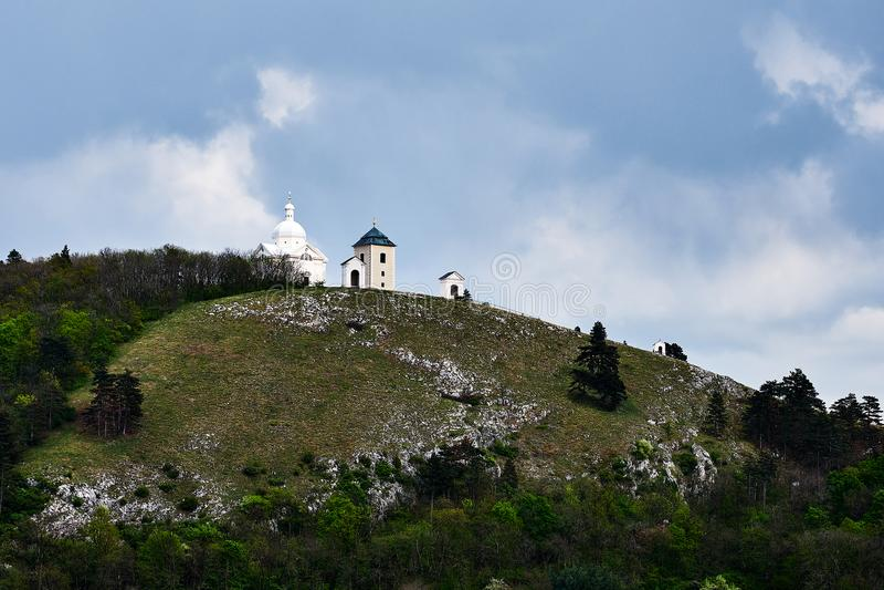 St sebastian white chapel on the holy hill Mikulov. Czech republic royalty free stock photography