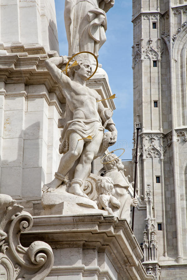 Download St. Sebastien - Trinity Column In Budapest Stock Image - Image: 27166619