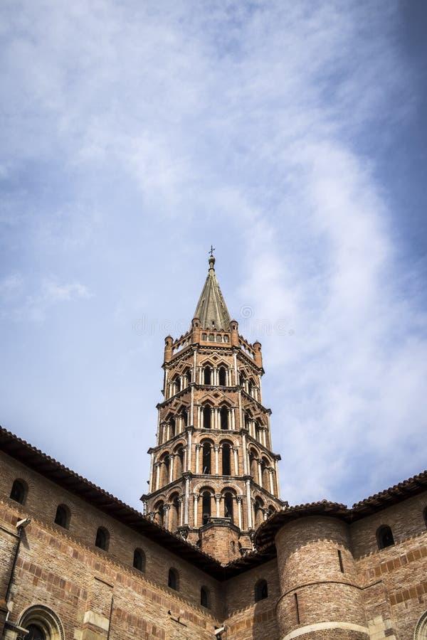 St Sernin大教堂在图卢兹法国 免版税库存照片