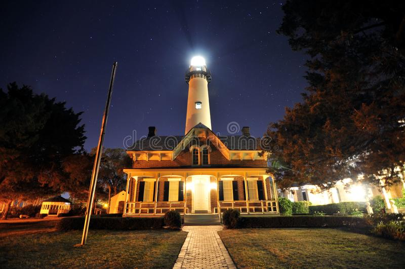 The St Simon Lighthouse. Located on St Simon Island, Georgia royalty free stock photos