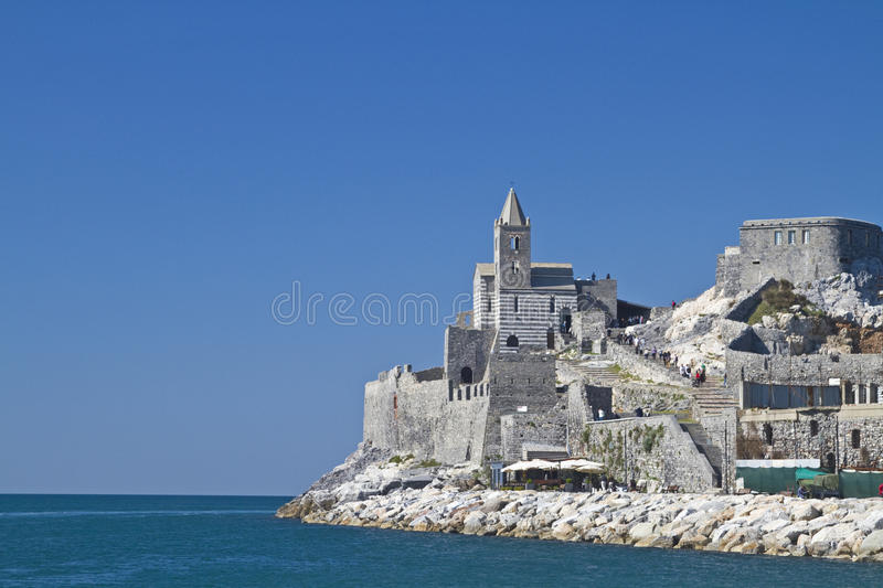St. Simon in Portovenere. St Simon - the picturesque old church is the landmark of Portovenere stock image
