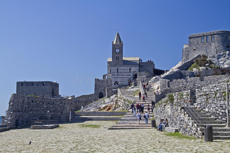 St. Simon in Portovenere. St Simon - the picturesque old church is the landmark Portovenere stock images
