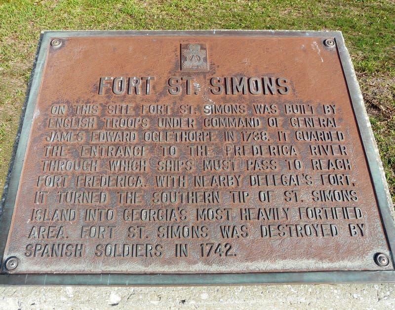 St. Simons Island Georgia Fort Plaque lizenzfreie stockbilder