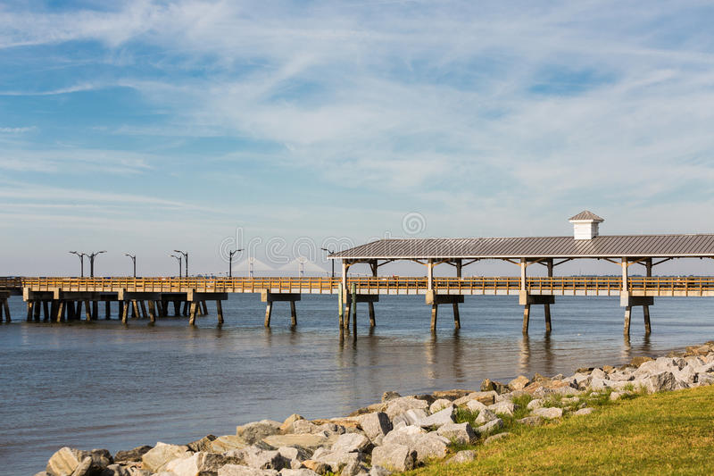 St Simons Pier and Brunswick Bridge stock image