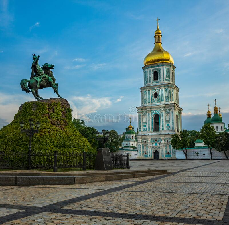 Free St. Sofia`s Square Is In The Historical Center Of Kyiv, Ukraine At Sunset Royalty Free Stock Image - 184823626