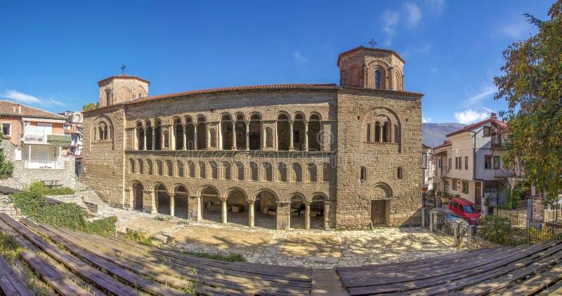 St. Sophia - alte byzantinische Kirche - Ohrid, Mazedonien - Panorama stockbild