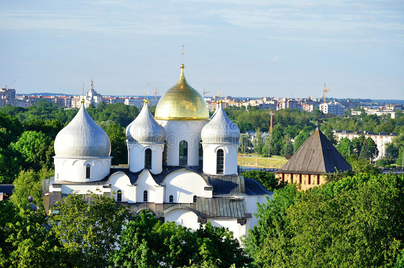 St.Sophia Cathedral from bird's eye view, Veliky Novgorod. Closeup of St.Sophia Cathedral and Vladimir Tower of Veliky Novgorod Kremlin at summer sunset on the royalty free stock photo