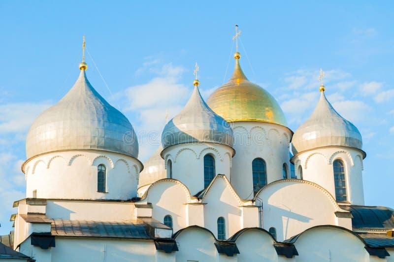 St Sophia Cathedral dans Veliky Novgorod, Russie Vue de plan rapproché d'architecture de point de repère orthodoxe de Veliky Novg photographie stock libre de droits