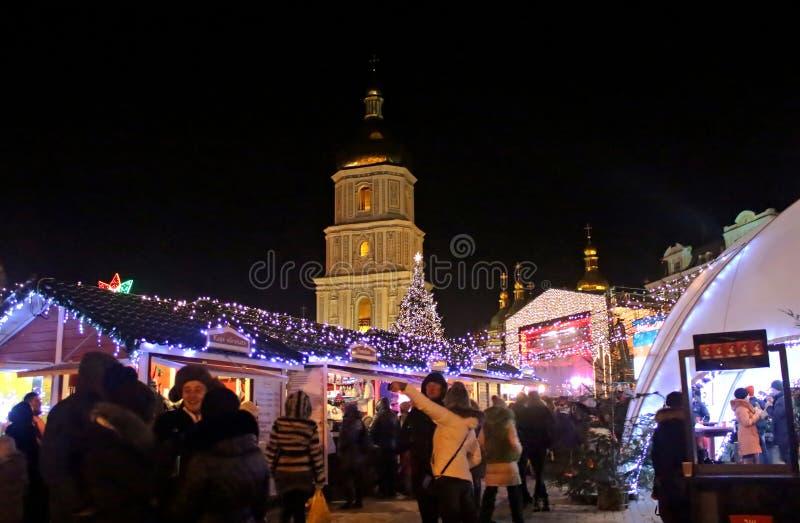 St Sophia Cathedral, mercato di Natale, Kyiv, Ucraina immagini stock libere da diritti