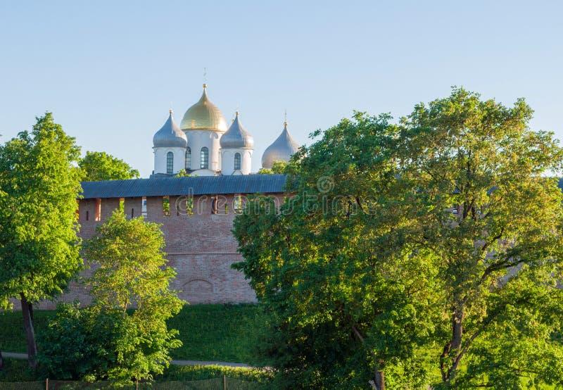 Καθεδρικός ναός του ST Sophia σε Veliky Novgorod, Ρωσία Άποψη από το ύψος στοκ εικόνες