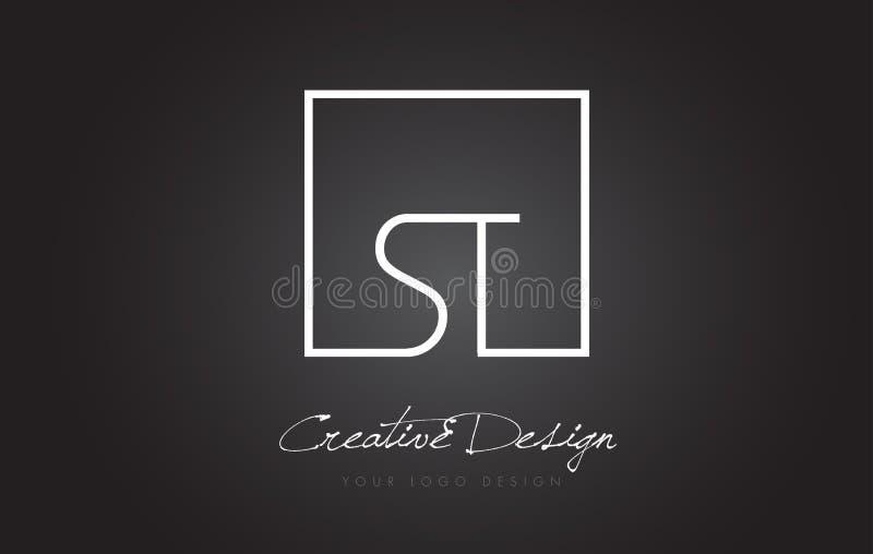 ST Square Frame Letter Logo Design with Black and White Colors. royalty free illustration
