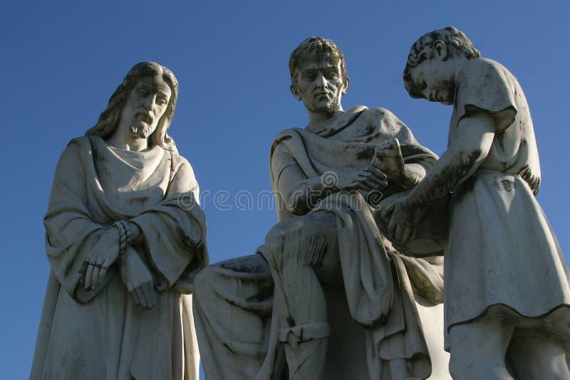 1st stacje krzyż, Jezus potępiają śmierć, Pontius Pilate myje jego ręki zdjęcia royalty free