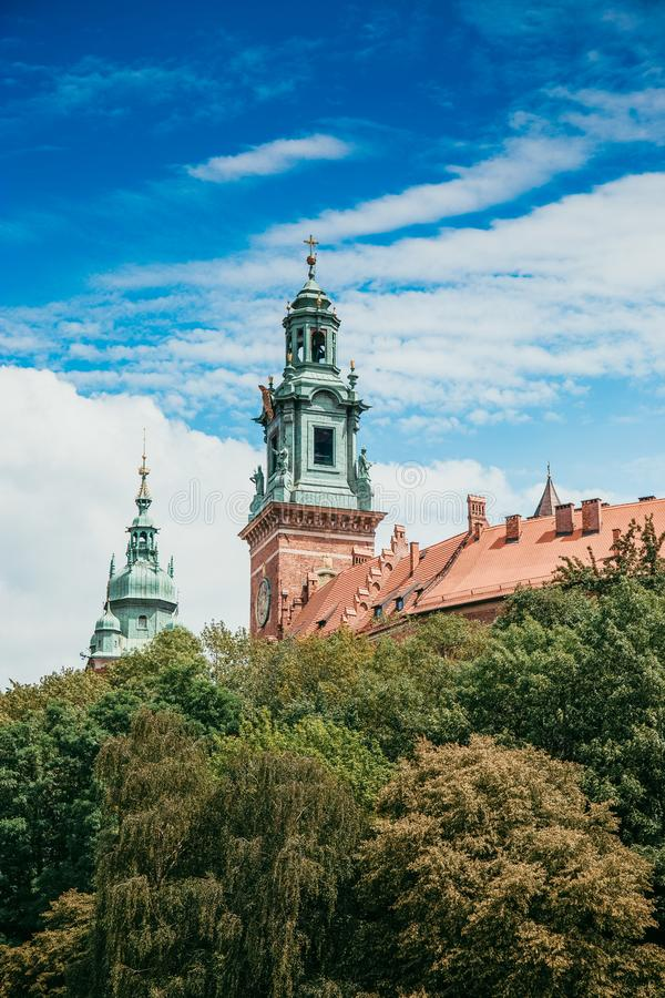 St. Stanislaus and Wenceslas Cathedral, green trees royalty free stock photography