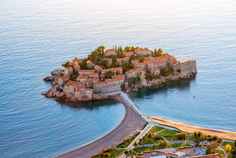 St. Stefan island. Top view in Montenegro stock photo