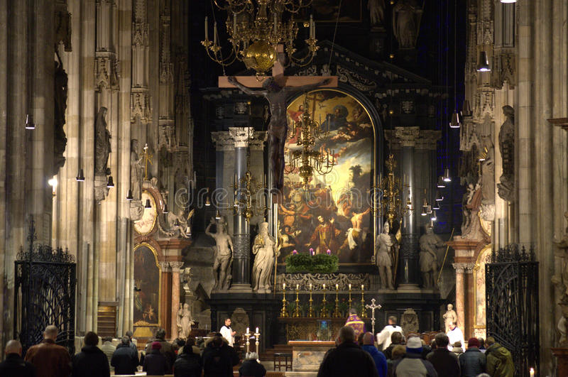 St Stephen Cathedral interior Vienna. Church service in Stephansdom Vienna. The most important religious building in Vienna, St. Stephen Cathedral has borne stock photo