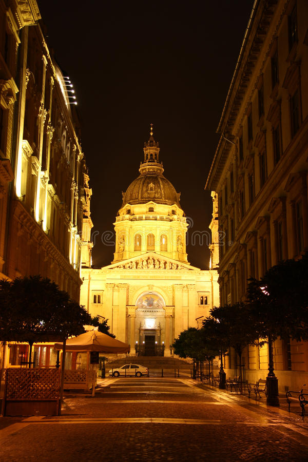 St. Stephen Church In Budapest At Night Editorial Image