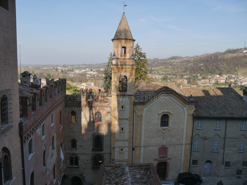 St Stephen church in Castell`Arquato. Baroque facade of St Stephen church royalty free stock photography