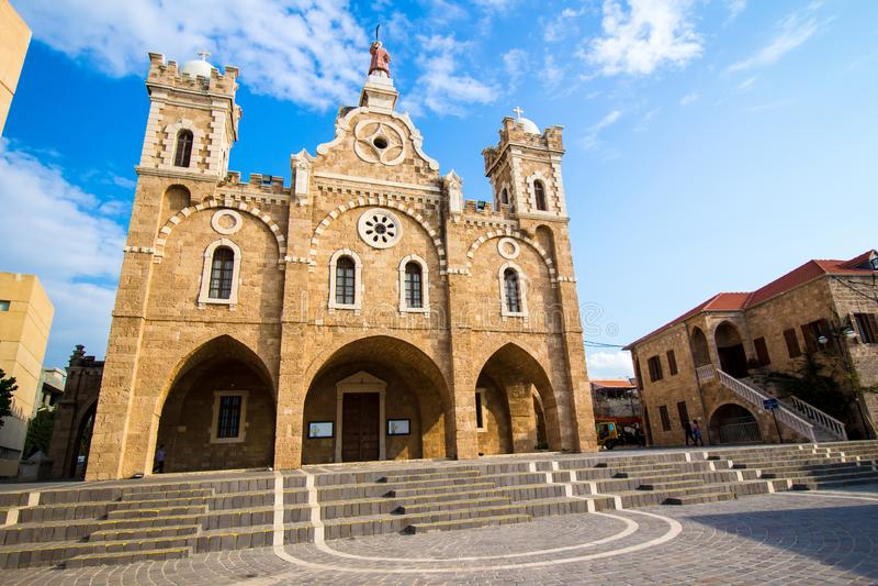 St Stephen Kerk in Batroun, Libanon stock foto