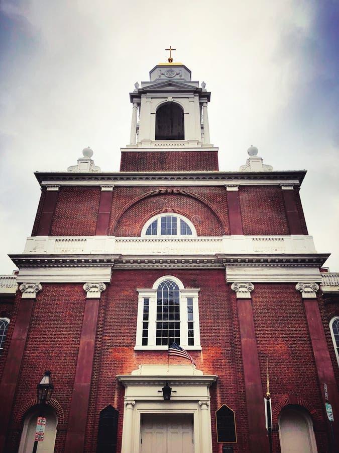 St Stephen Kerk buiten in Boston stock afbeeldingen