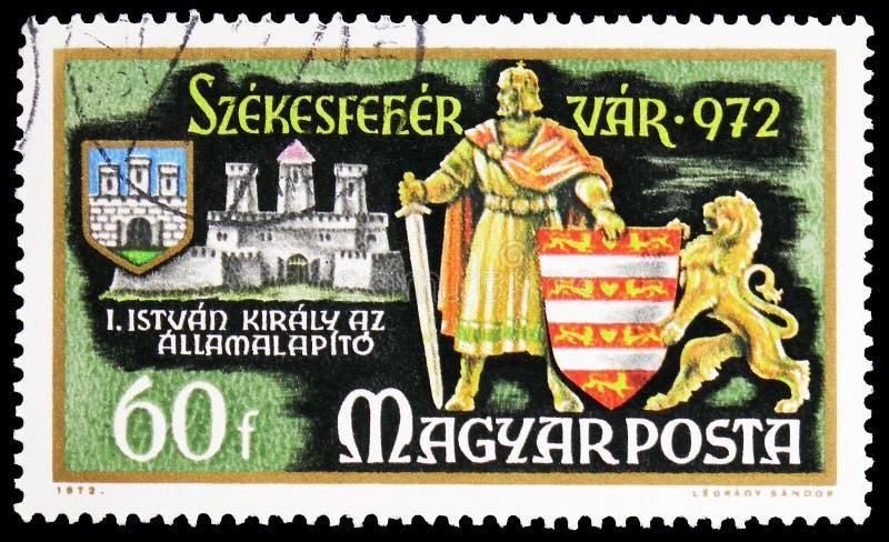 St Stephen, premier roi de la Hongrie, millénaire de la ville du serie de Szekesfehervar, vers 1972 photos libres de droits
