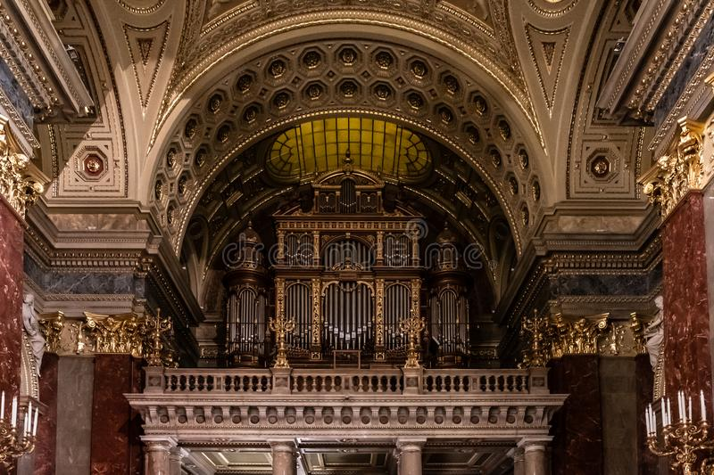 St. Stephen s Basilica in Budapest. Interior Details. Ceiling elements and organ. royalty free stock images