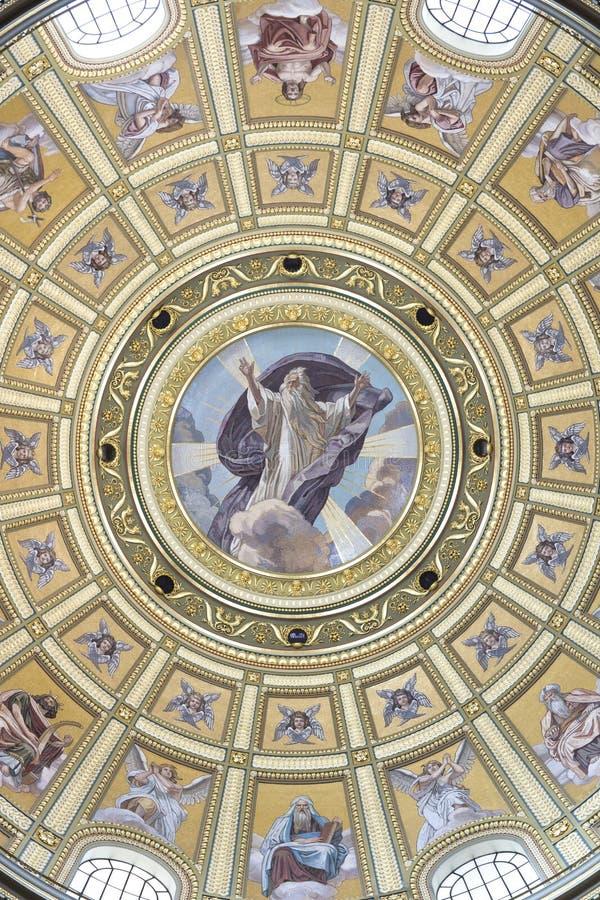 St. Stephen's Basilica, god mosaic. Interior of St. Stephen's Basilica, Budapest, Hungary royalty free stock photo
