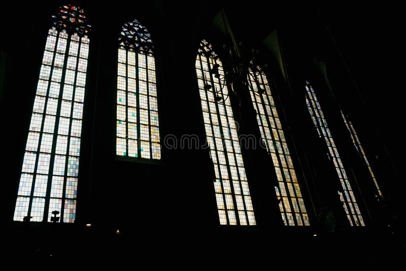 St. Stephen`s Cathedral Inside Windows. St. Stephen`s Cathedral inside Catholic stephansplatz royalty free stock photos