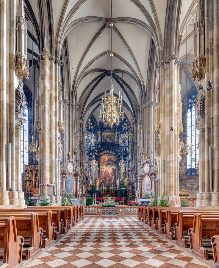 St. Stephen's Cathedral interior, Vienna, Austria stock photo