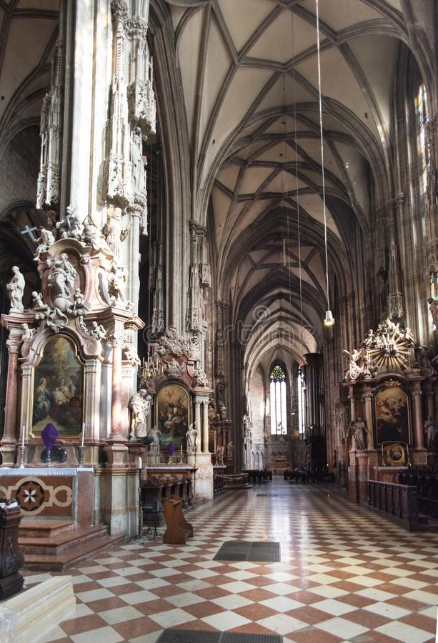 Interior St Stephens Vienna. St. Stephen`s Cathedral is the mother church of the Roman Catholic Archdiocese of Vienna and the seat of the Archbishop of Vienna royalty free stock photo
