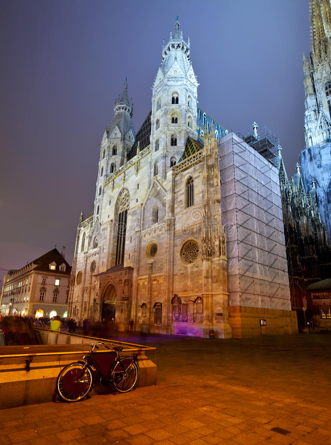 St. Stephen's Cathedral in night. Vienna. Austria stock photo