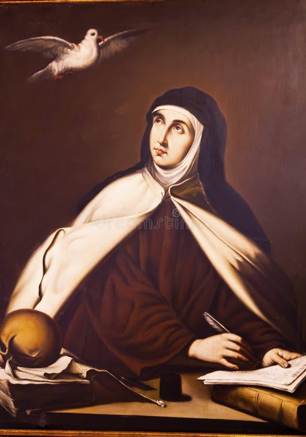 St Teresa Painting Convento de Santa Teresa Avila Castilla Spanje royalty-vrije stock afbeeldingen