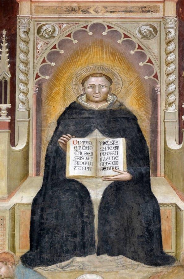 St. Thomas Aqinas, фреска в церков повести Santa Maria во Флоренс стоковые изображения rf