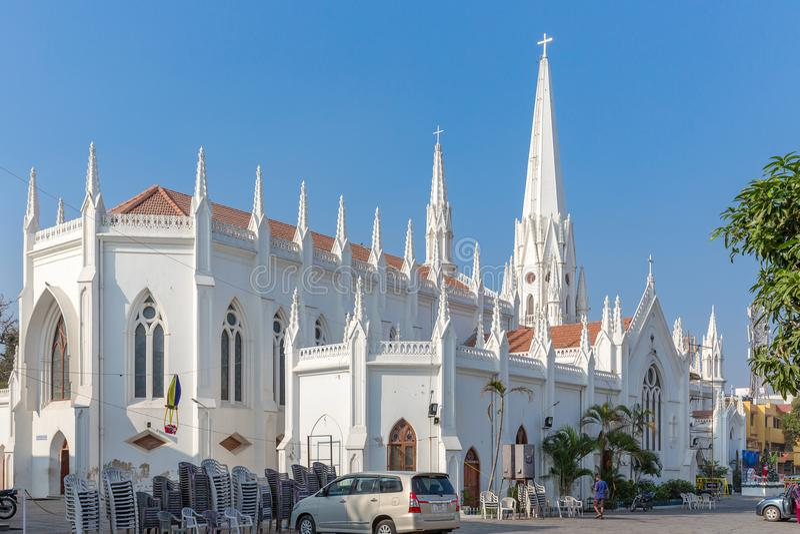 St Thomas Basilica, Chennai, Tamil Nadu, Indien royaltyfri fotografi