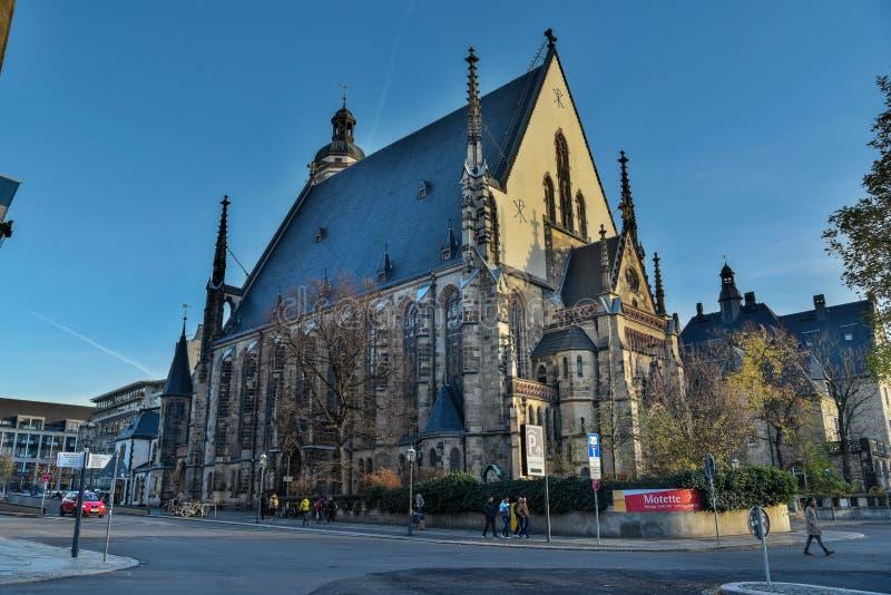 St Thomas Church Thomaskirche i Leipzig, Tyskland royaltyfri fotografi