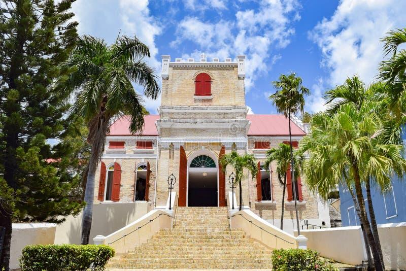 St Thomas, E.U. Ilhas Virgens - 1º de abril de 2014: Frederick Evangelical Lutheran Church imagem de stock
