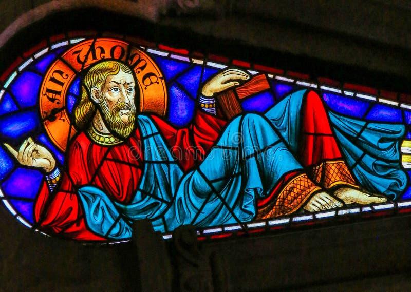 St Thomas - målat glass royaltyfri fotografi