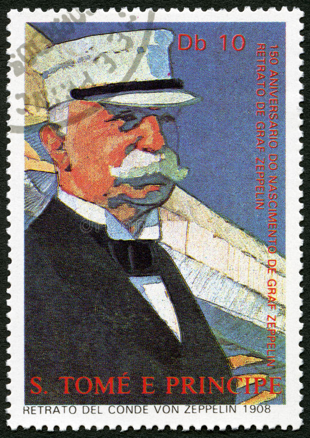 ST. THOMAS AND PRINCE ISLANDS - 1988: shows Ferdinand Graf Von Zeppelin 1838-1917. ST. THOMAS AND PRINCE ISLANDS - CIRCA 1988: A stamp printed in St. Thomas stock photo