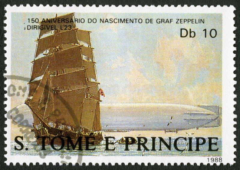 ST. THOMAS AND PRINCE ISLANDS - 1988: shows Sailing ship, dirigible L23, series Ferdinand Graf Von Zeppelin 1838-1917. ST. THOMAS AND PRINCE ISLANDS - CIRCA 1988 stock photo