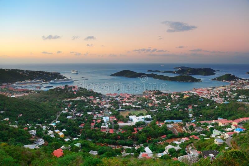 St Thomas soluppgång arkivfoton