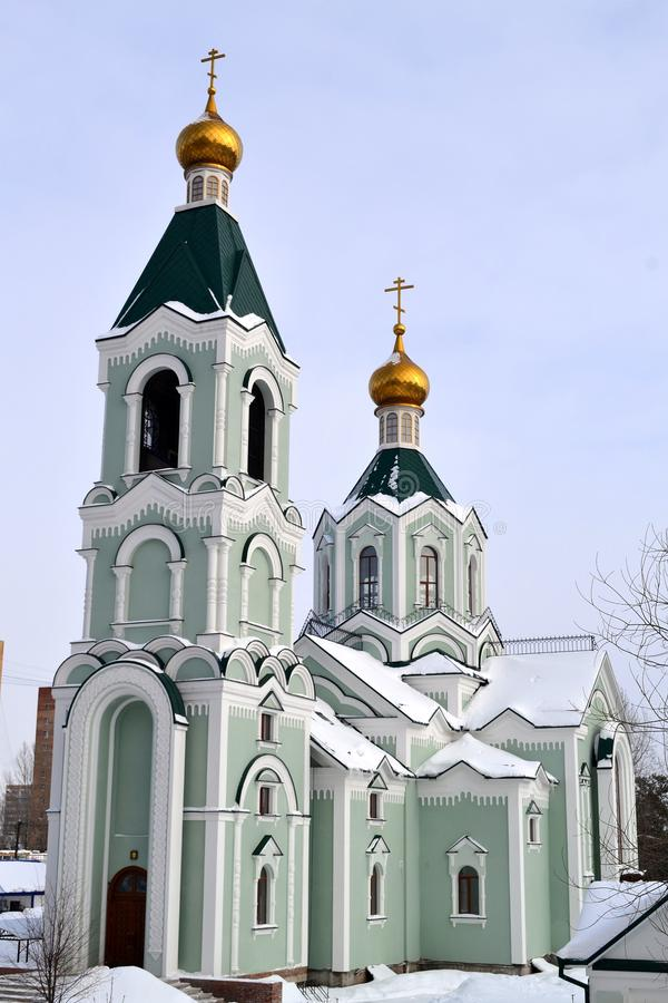 St. Tikhon`s Church in Tolyatti. The temple in honor of St. Tikhon, Patriarch of Moscow and all Russia - modern Church architecture stock images