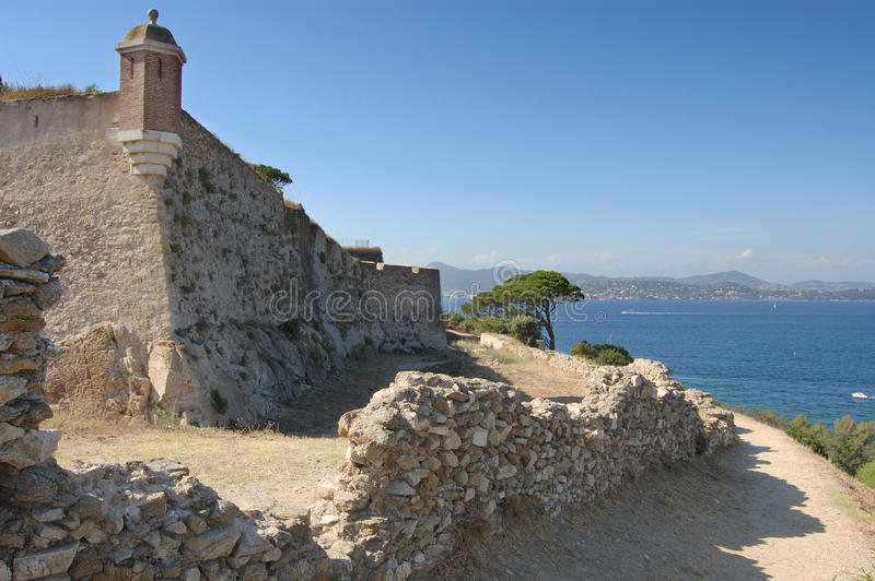 St Tropez castle walls and bay. St Tropez castle walls looking north over the bay stock photo