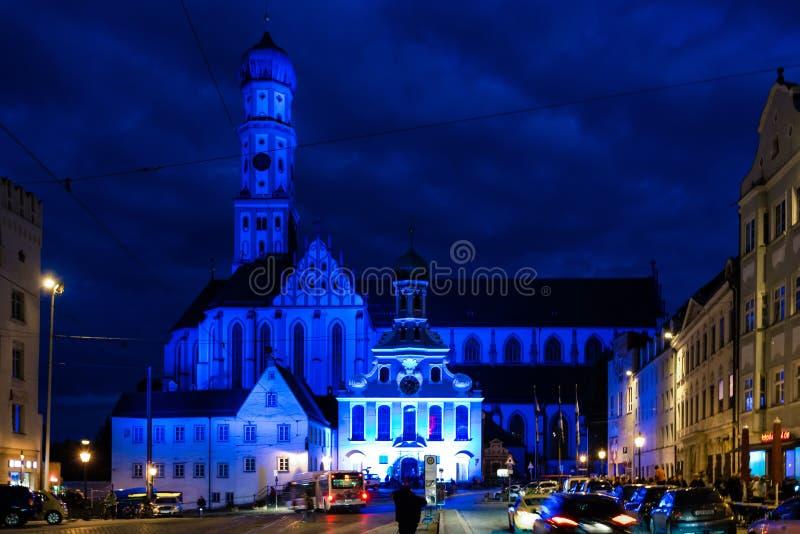 St Ulrich Basilica na cidade de Augsburg imagens de stock
