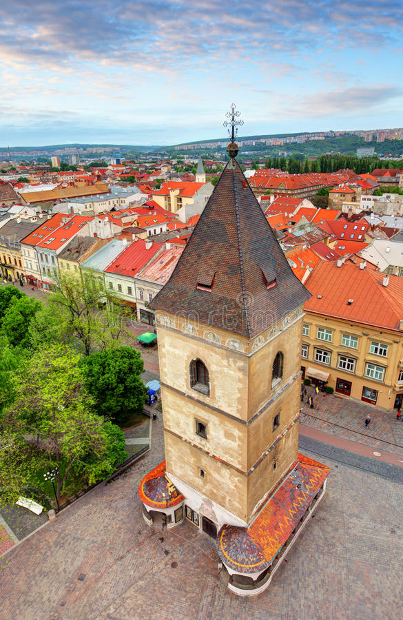 St Urbans塔在科希策,斯洛伐克 免版税库存照片
