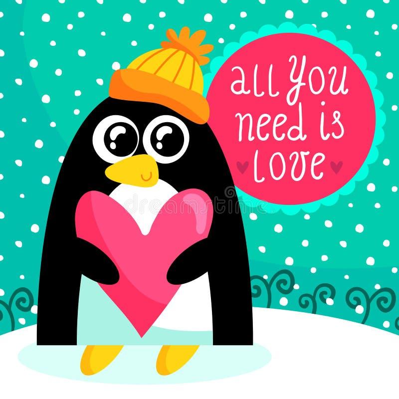 St-valentin kort för dag med den gulliga pingvinet vektor illustrationer