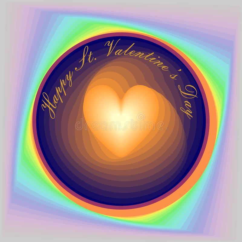 St. Valentine's card, a heart - as if revolving inside a circle, with the inscription Happy St. Valentine's Day vector illustration