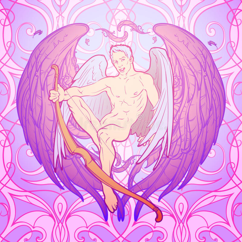 St Valentine& x27; assento do cupido de s ilustração do vetor