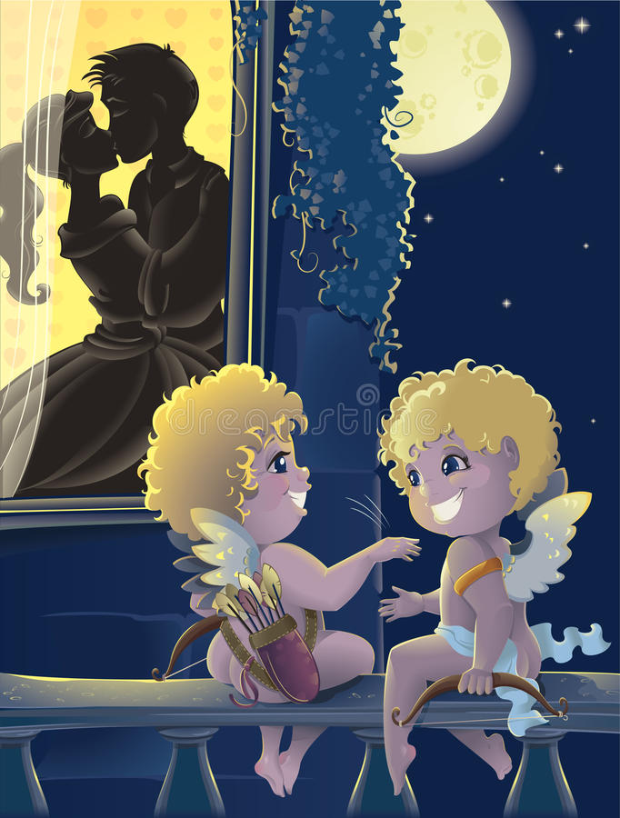 St.Valentine Day. Cartoon With Cupids Royalty Free Stock Photos